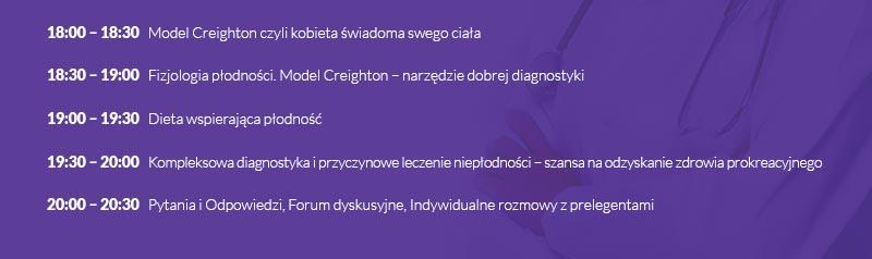 18:00 – 18:30   Model Creighton czyli kobieta świadoma swego ciała | 18:30 – 19:00   Fizjologia płodności. Model Creighton – narzędzie dobrej diagnostyki | 19:00 – 19:30   Dieta wspierająca płodność  | 19:30 – 20:00   Kompleksowa diagnostyka i przyczynowe leczenie niepłodności – szansa na odzyskanie zdrowia prokreacyjnego | 20:00 – 20:30   Pytania i Odpowiedzi, Forum dyskusyjne, Indywidualne rozmowy z prelegentami