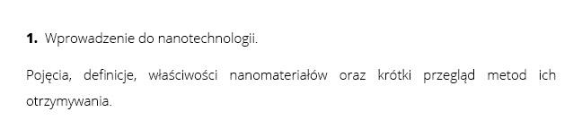 1.  Wprowadzenie do nanotechnologii. | Pojęcia, definicje, właściwości nanomateriałów oraz krótki przegląd metod ich otrzymywania.
